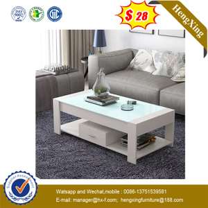 White Color Tempered Glass Wooden MDF Coffee Table