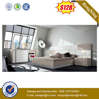 High Headboard Living Room Daily Home Bedroom Furniture Set Wooden Frame Use Bed