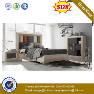 Luxury Design Fabric Backrest Hotel Bed At Home Double Bed with High Headboard