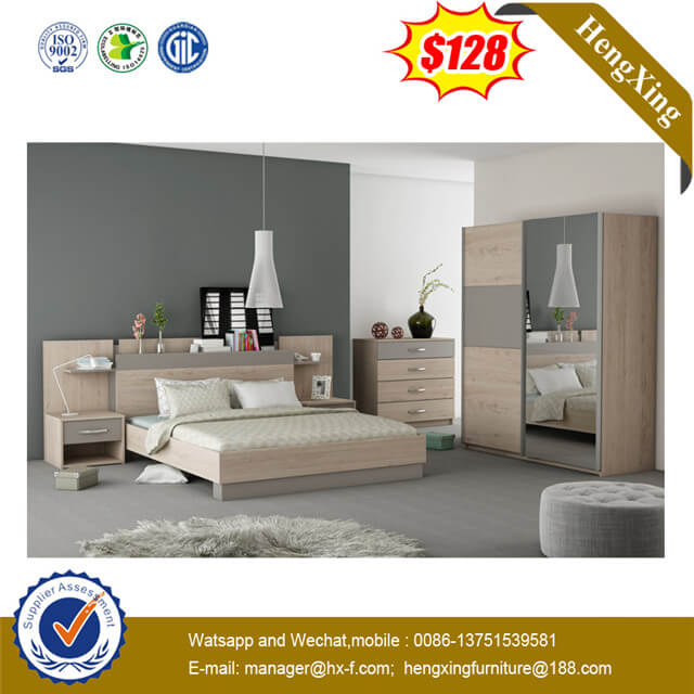 Wooden Leather Backrest Bedroom Furniture Double Bed with Side Cabinet