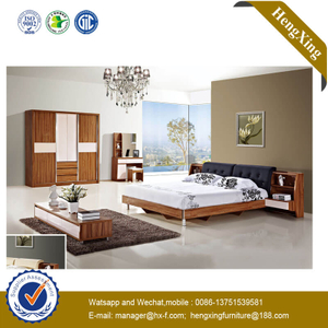 Modern Wooden Home Furniture President Bed with Leather Soft Package