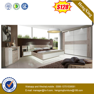 Comfortable Wood Hotel Furniture Bedroom Double High Headboard Bed