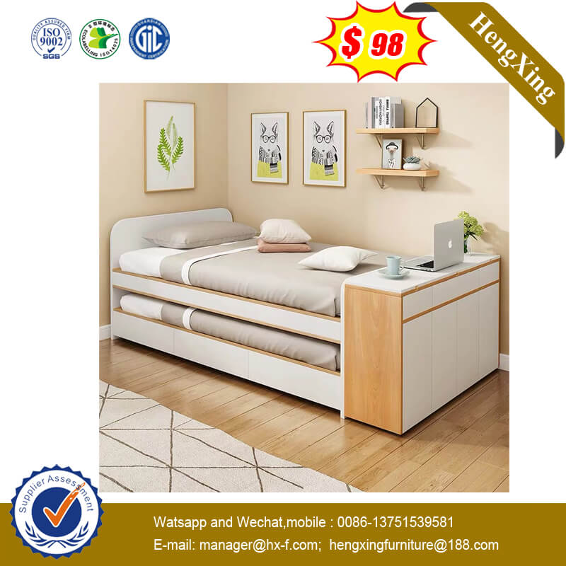 Multifunctional Small Size Home Use Child Mother Adult Bunk Wooden Simple Double Bed