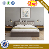 2020 Simply Design Wooden Bedroom Hotel Furniture Double Bed with Pu Headboard