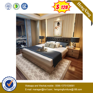 European Design Luxury Design 5 Stars Hotel Bedroom Furniture Set Walnut Bed With Leather Backrest