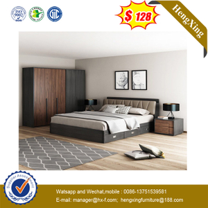 Modern Walnut Wood Hotel Living Room Use King Size Bedroom Furniture Bed