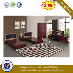 Oak Solid Wood Single Double King Queen Size Hotel Furniture Bed