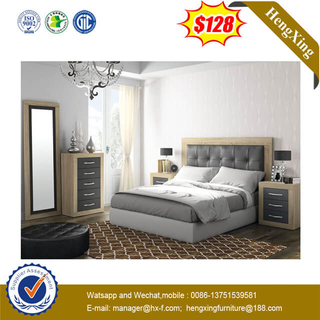 High Headboard Bed Comfortable Leather Backrest Wood Double Hotel Furniture Bedroom