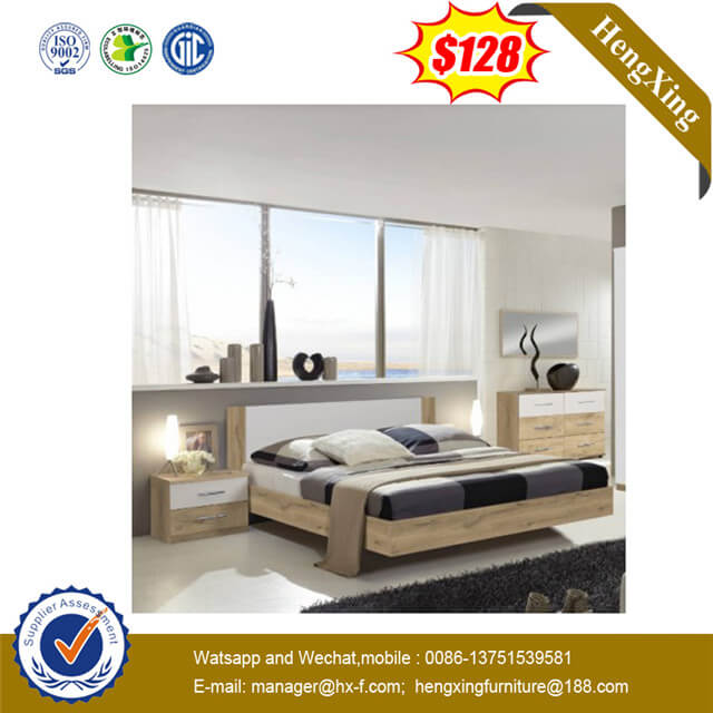 Home Use Simple Design Wooden Frame Daily Hotel Bedroom King Single Bed