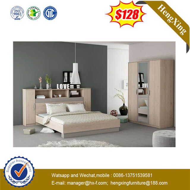Modern Wooden Twin Double Bed with Storage for bedside Used Home Bed