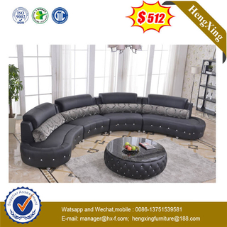 Round Shape Design Luxury Living Room Soft Leather PU Sofa With Special Leather Coffee Table