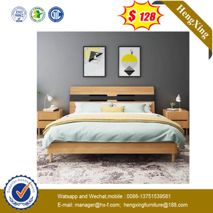 Home Strong Bearing Capacity Bedroom Furniture Wooden Frame Bed And Headboard Sets With Wood Legs