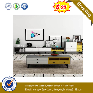 Living Room TV Stand Wooden Center Modern Side Coffee Table