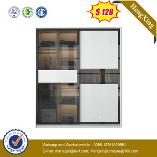 Modern MDF Glass Door Office Sliding Bookcase Bedroom Wardrobe Cloakroom Corner Closet