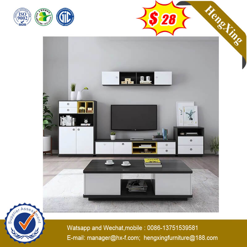 Wooden Home TV Furniture Double Cabinet Side Cabinet With Drawers