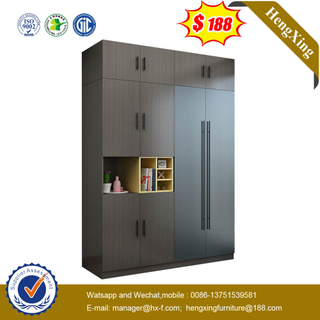 Classic Dark Grey Bedroom Furniture Wooden Wardrobe Closet With Top Cabinet