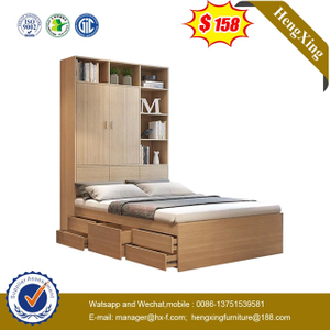 Cheap Wooden Kindergarten Furniture wardrobe Bookcase Bedroom Double Single kids Beds
