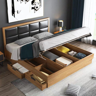 Wholesale Cheap Price Nordic Wooden Hotel Hot Sell Bedroom Furniture Double Bed