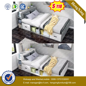 Fashion Children Bedroom Home Furniture Simple Single Size Wood Kids Bed with Wardrobe