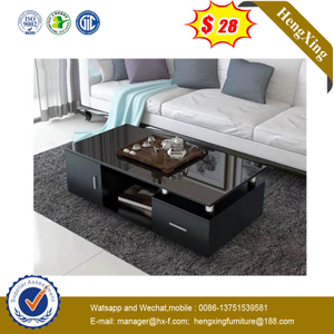 Chinese Furniture Black Glass TV Cabinet Wooden Coffee Home Table