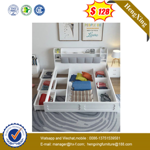 Wooden Modern Luxury Bedroom Baby Furniture King Queen Size Storage Function Wall Sofa Bed