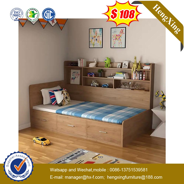 Chinese Modern Wooden Hotel Single Beds Bookcase Bedroom Furniture Kid Bed with Drawer Cabinet