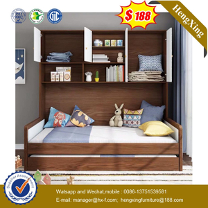 Wooden Home Bedroom Children Single Kids Bed Furniture with Drawer Cabinet