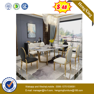 Modern Luxury Home Restaurant Furniture Set Wooden Frame Marble Dining Tables