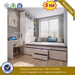 hotel home drawer cabinets Wooden Bedroom Furniture Bookcase Wardrobe Blue Bed Bunk Kids Single Bed