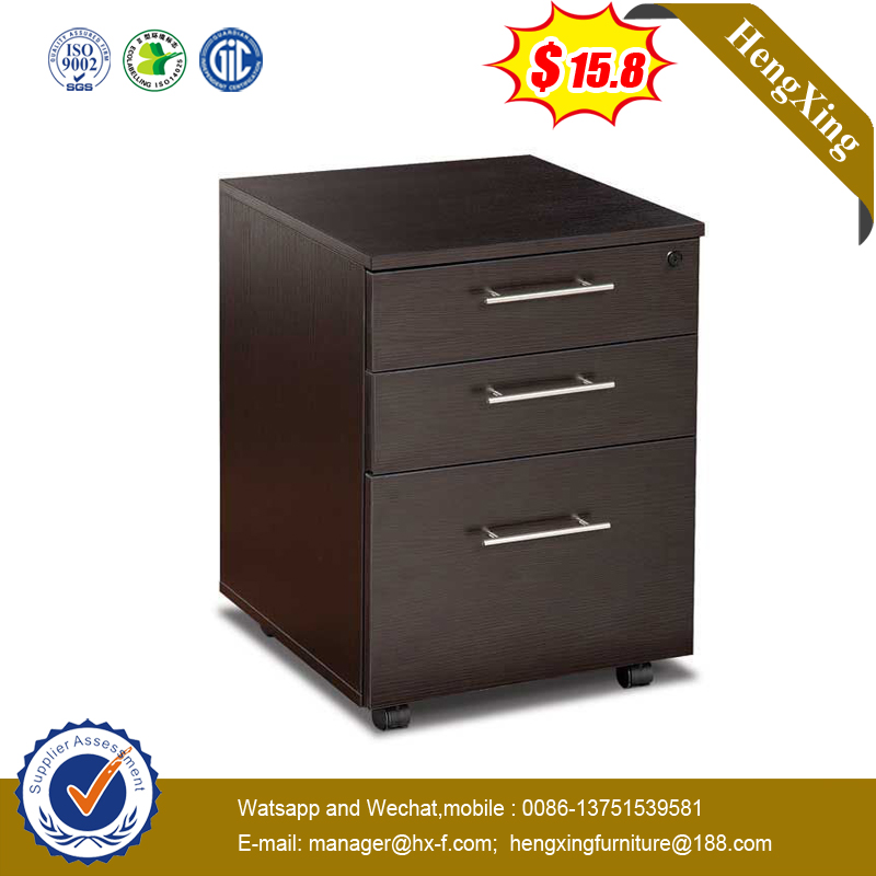 Wood 3 Drawer Brown Color Movable Pedestal Storage Cabinet