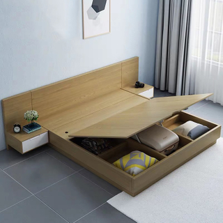 New Design Cheap Price Bed with E1 MDF in Melamine for Bedroom Furniture