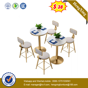 Modern Furniture 2 Seats Golden Steel Legs Dining Table with Marble Top