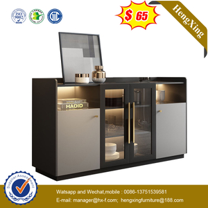 Economical Storage Living Room Cabinet Home Furniture Set Kitchen Cupboard with Glass Door