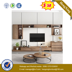 Nordic Style TV Cabinet Living Room Furniture Set TV Stand with Round Coffee Table