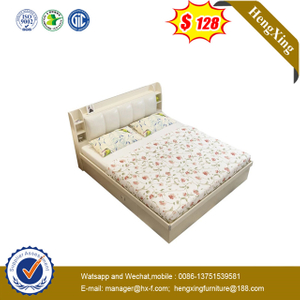 Factory Home Bedroom Furniture Set Wooden nightstand Wall Double King Beds with mattress