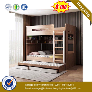 Chinese Modern Wooden School Dormitory Bedroom Furniture Set Double Kids Bunk Beds with Wardrobe