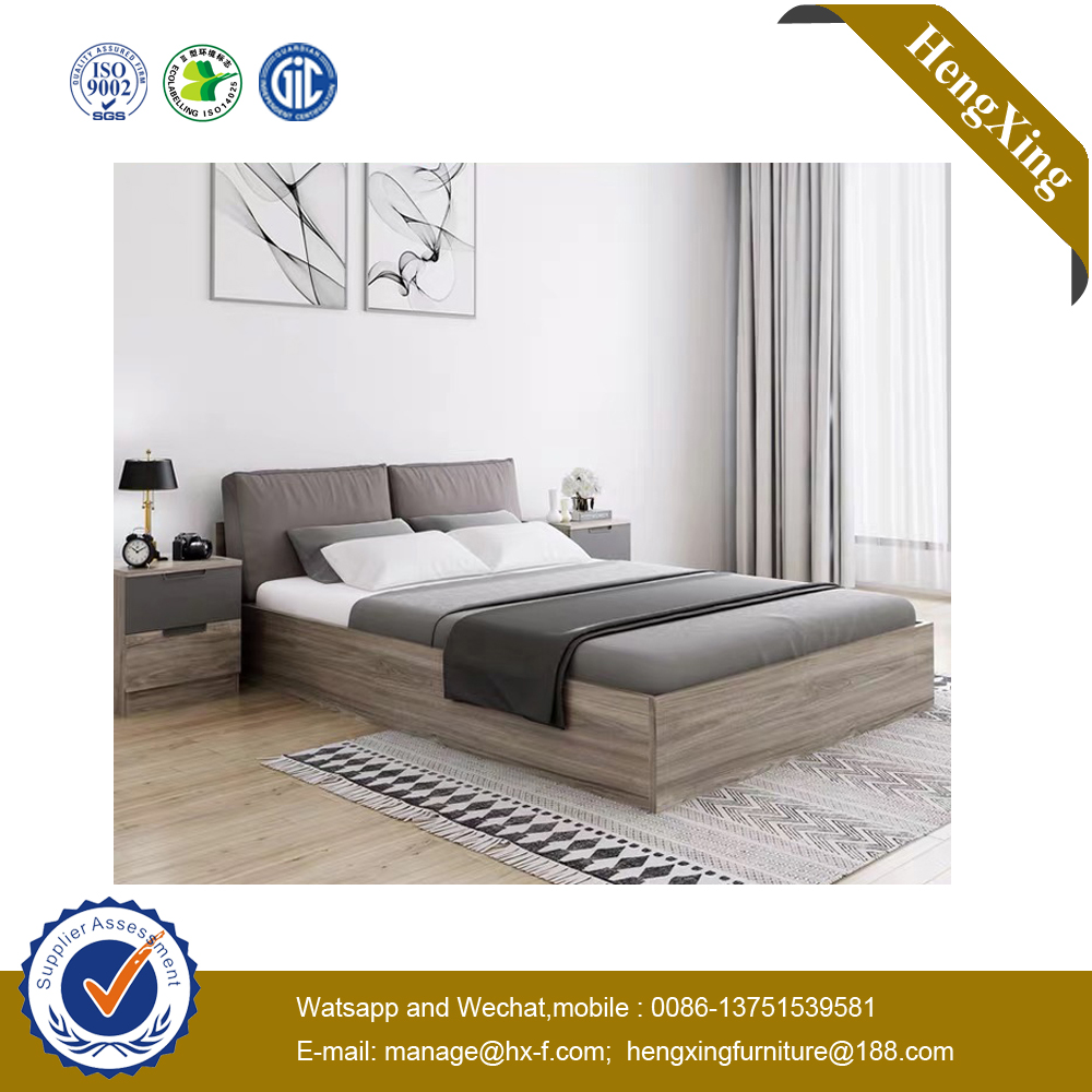 Chinese Modern Foam Mattress Side Table Wooden Home Bedroom Furniture Set Double King Bed